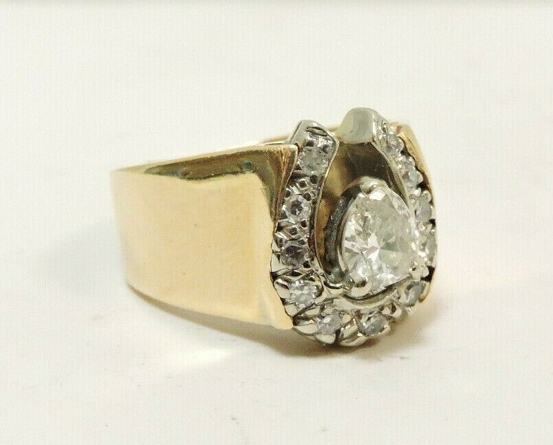 (MA3) 14k Yellow gold Women's Diamond Cluster Ring @ 9.3 Grams .56tcw Size 5