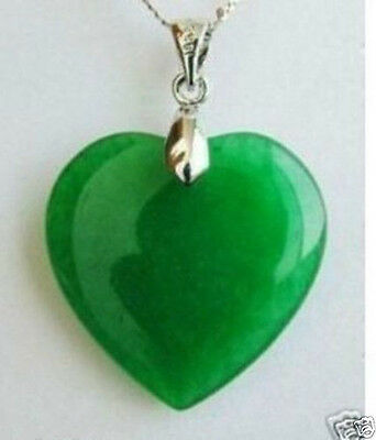 New ! Fashion Jewelry Green Jade Heart Shape Silver emerald Pendant +Necklace