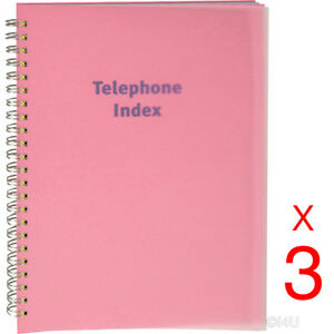 3-X-PHONE-BOOK-EXECUTIVE-ADDRESS-PAD-CONTACT-DATA-NOTE-TELEPHONE-DIARY-COLOURED