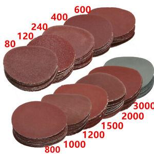 10x-50mm-2-034-Feuille-Papier-de-Verre-Abrasif-Disque-Polissage-Poncage-80-3000Grit