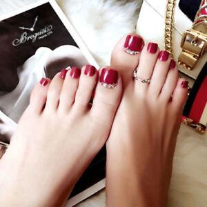 3D-Toe-Fake-Glue-Shimmer-Diamond-Full-red-Nail-Metallic-Silver-Tip-24-1-nail-uk