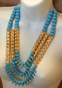 VTG-Bib-Necklace-Massive-Egyptian-Revival-Triple-Strand-Statement-Runway-Blue