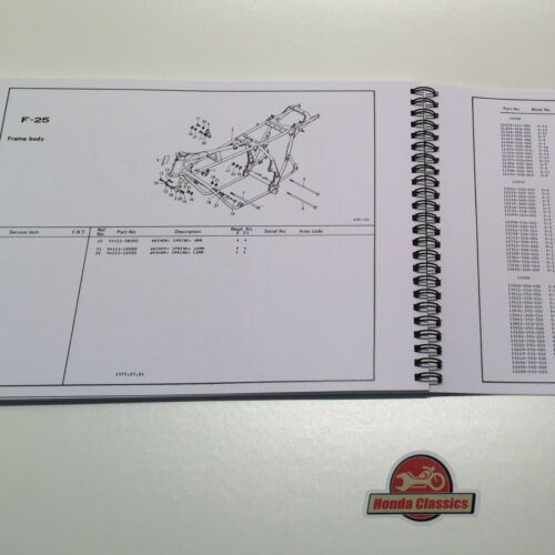 Honda CB750F CB750F1 SOHC Four 1970s Parts List Book Manual HPL015