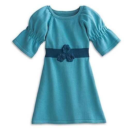 American Girl Bitty Baby PLAY DRESS with FLORAL TIGHTS aqua size medium 4 5