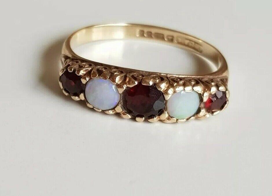 Antico Periodo edoardiano 9ct oro Opale & Granato Anello Anello Anello UK taglia  Q  Charles LYSTER & Son bc7218