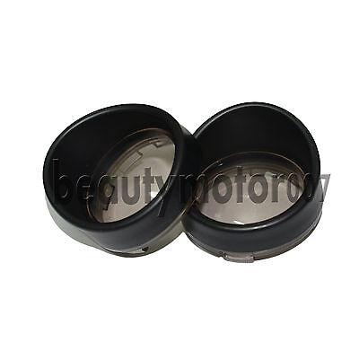 Pair Black Visor-Style Turn Signal Bezels With Smoke Lens for Harley Davidson