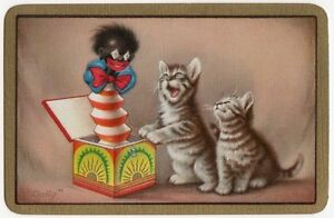 Playing-Cards-1-Single-Card-Old-Vintage-KITTEN-Kittens-CAT-Cats-JACK-IN-BOX