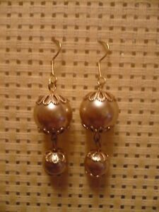 HIGH-QUALITY-SOFT-GOLD-FAUX-PEARL-SILK-ROUTE-EARRINGS-BNEW
