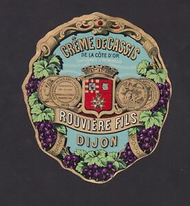 Ancienne Etiquette Glacee Alcool France Bn40279 Creme De Cassis