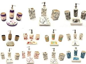 4-Piece-Elegant-Ceramic-Bathroom-Accessory-Set-Beautiful-Printed