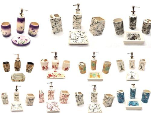 4 Pièce élégant Céramique Salle de Bains Set Accessoire-Magnifique imprimé
