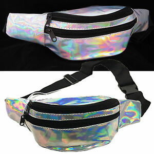 7988dd92fd46 Details about Silver Iridescent Holographic Fanny Pack Shiny Metallic Waist  Bag Punk Fashion