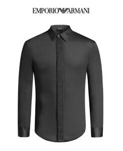 bd776cc52a3d1 ON SALE GENUINE EMPORIO ARMANI Shiny Black Luxury Mens Shirt Slim ...