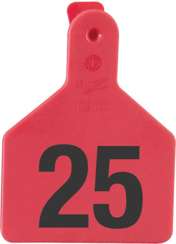 Z Tags Calf Ear Tags Red Numbered 126-150