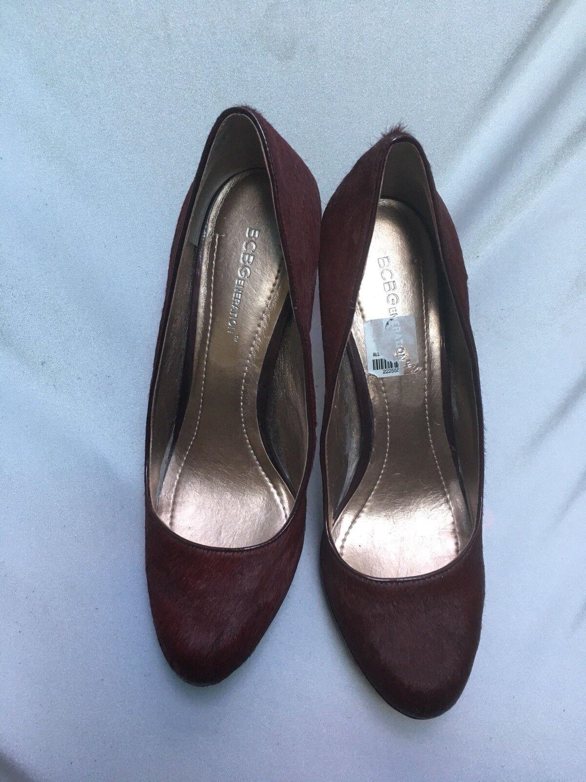 BCBG Women's Burgundy Calf Hair High Heel  Pumps Size 9B 39