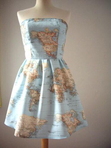 Globo De Mapa Mundial Atlas Cortina Tapicería material de tela de algodón-Azul 140cm de ancho