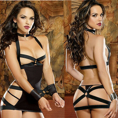 Women's Sexy Lingerie Lace Dress Underwear Black Babydoll Sleepwear G-string