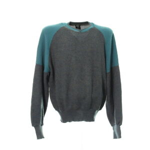 Vintage-Strickpullover-Gr-M-Oversize-Sweater-Rundhals-Retro-Muster