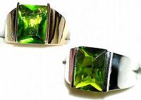 Men's Rectangular Peridot Ring 20913 August Stone - You Pick Setting