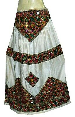 LEHENGA ANTIQUE VINTAGE HEAVY KUTCH MIRROR INDIAN LONG WHITE EMBROIDERED SKIRT