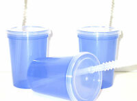12 Small 12 Oz Purple Translucent Drinking Glasses, Lids, Straws, Mfg Usa