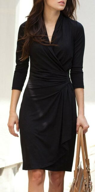 Karen Kane 3n94622 Black Stretch Jersey Cascade Wrap Dress 108
