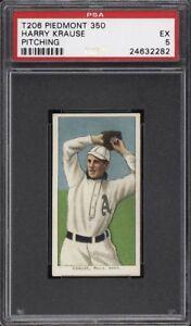 Rare 1909-11 T206 Harry Krause Pitching Piedmont 350 Phila PSA 5 EX