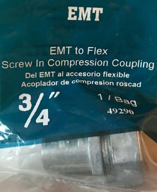 "5 Sigma Elect 49290 3//4/"" EMT to Flex Screw in Compression Coupling Ship for sale online"