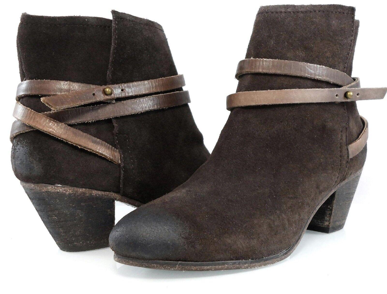 Nuevo En Caja Caja Caja  295 Ash Nikita occidental Vintage botaie Correas Tobillo botas para mujer 39 8.5 -9 71231c