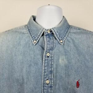 Ralph-Lauren-Mens-Light-Blue-Denim-Casual-Dress-Button-Shirt-Size-Large-L