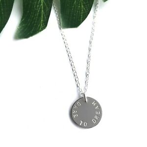 Personalised-Necklace-Sterling-Silver-925-Disc-Hand-stamped-Names-Family-Quote