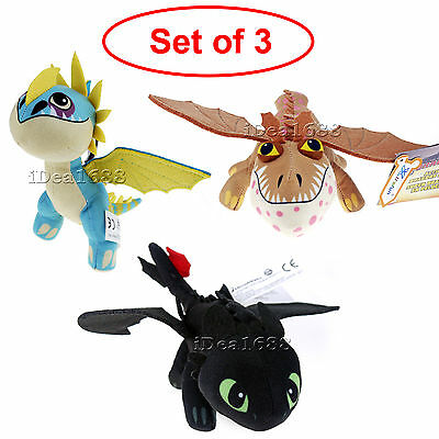 Set of 3 How to Train Your Dragon 2 Toothless Stormfly Plush Soft Toy Kids Gifts