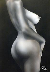 Dibujo de una niña desnuda # 64. Aerografía.