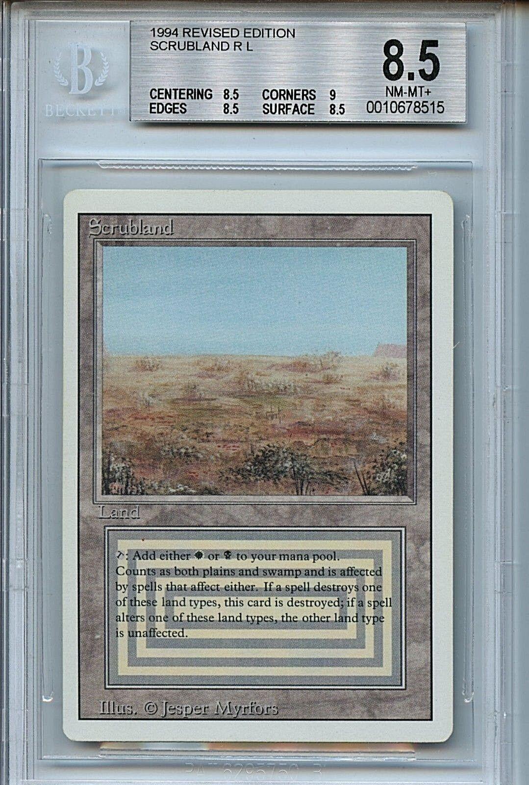 MTG Revised Dual Land Scrubland BGS 8.5 NM-MT+ Magic Card WOTC 8515
