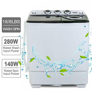 26-LBS-Compact-Washing-Machine-Portable-Twin-Tub-Laundry-Spin-Dryer-w-Drain-Pump