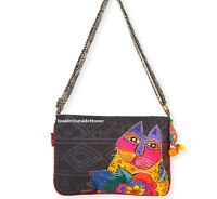 Laurel Burch Mara Cat Medium Crossbody Tote Bag Multi On Black 2017