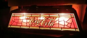 VINTAGE COCA COLA 3 LAMP FAUX TIFFANY GLASS STYLE POOL TABLE LIGHT-COKE-SIGN