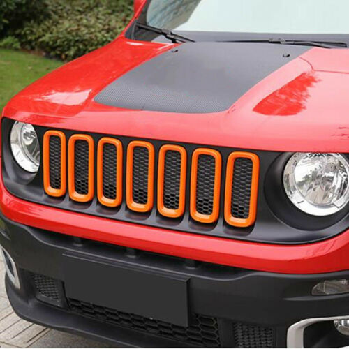 For Jeep Renegade 15-18 Front Grille Inserts Mesh Grill Trim Accessories Orange