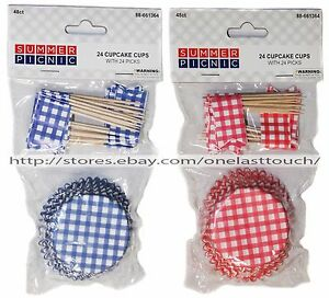 SUMMER-PICNIC-48pc-CUPCAKE-CUPS-FLAG-PICKS-Patriotic-4TH-OF-JULY-YOU-CHOOSE-5-9