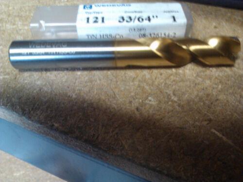 ".5156/"" 33//64/"" COBALT TiN COATED SCREW MACHINE LENGTH DRILL"