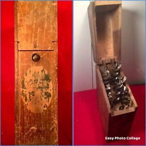 Vintage-10-Pc-Set-Irwin-Drill-Brace-Bits-Tool-Wood-Auger-W-Box-Handy-Borcase