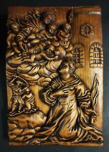 antikes-geschnitztes-Holzrelief-HEILIGE-BARBARA-mit-Maria-und-Putti