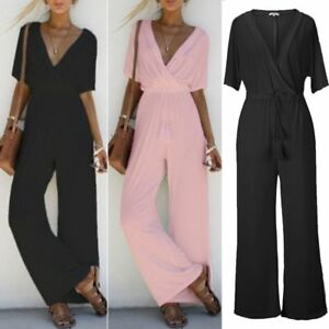 Damen-Hosenanzug-Overall-Romper-Lang-Anzug-Einteiler-Jumpsuit-Playsuit-Bodysuit