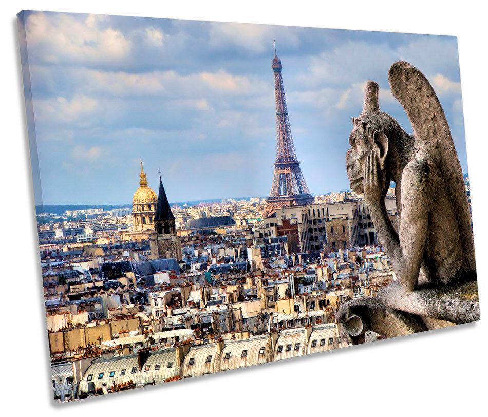 NOTRE DAME CATTEDRALE Parigi Francia TELA SINGOLA Wall Art incorniciato stampa