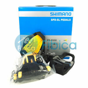 New-Shimano-PD-R550-SPD-SL-Carbon-Road-Clipless-Pedals-Black-with-Cleats