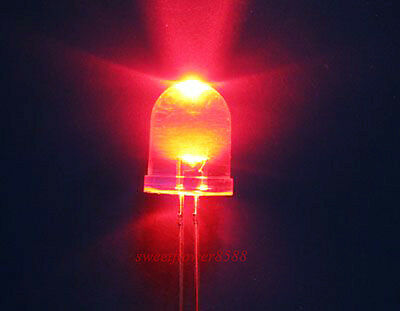 50 10mm 10000mcd LED Lamp Ultra Bright Red Light DIY New