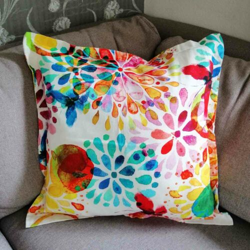 Cushion Cover Flowers with Butterfly//in 4 sizes//fabric cushion in living area