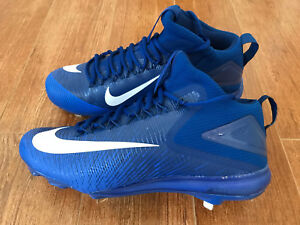 NEW Nike Zoom Trout 3 Mid Metal Men's Baseball Cleats Blue/White 856503-447 $140