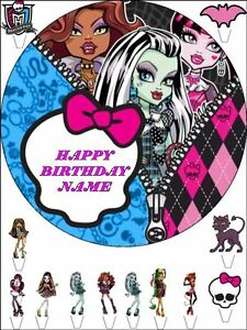 Terrific Edible Round 7 5 Monster High Birthday Cake Topper And 12 Funny Birthday Cards Online Fluifree Goldxyz