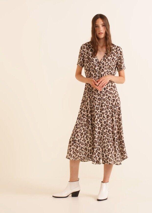 Woman leopard, animal print dress size XS mango RRP 60£